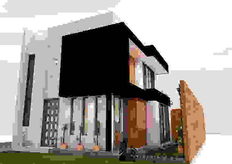 FACHADA PRINCIPAL Y LATERAL Casas de estilo minimalista de Umbral arquitectura y construccion Minimalista