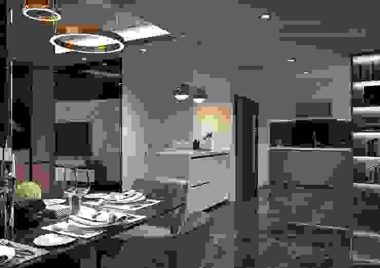 Phong cách hiện đại trong thiết kế nội thất căn hộ Saigon Royal Phòng ăn phong cách hiện đại bởi ICON INTERIOR Hiện đại