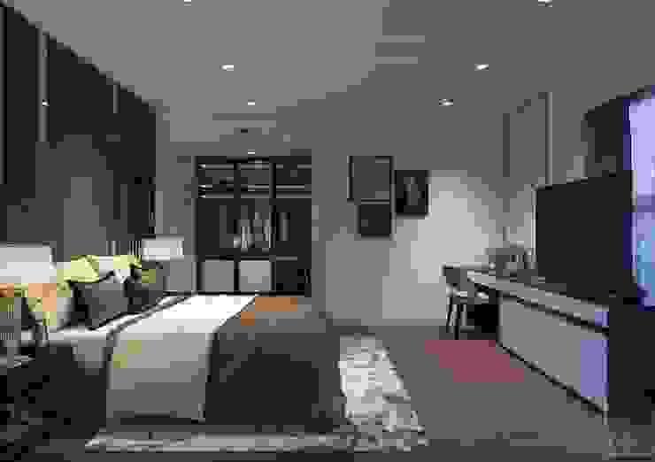 Phong cách hiện đại trong thiết kế nội thất căn hộ Saigon Royal Phòng ngủ phong cách hiện đại bởi ICON INTERIOR Hiện đại