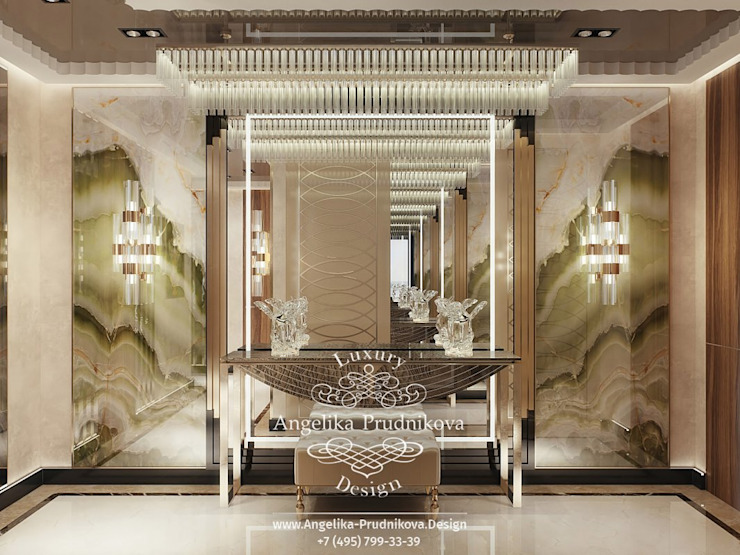 Дизайн-проект интерьера квартиры в стиле модерн в ЖК Долина Сетунь Коридор, прихожая и лестница в модерн стиле от Дизайн-студия элитных интерьеров Анжелики Прудниковой Модерн
