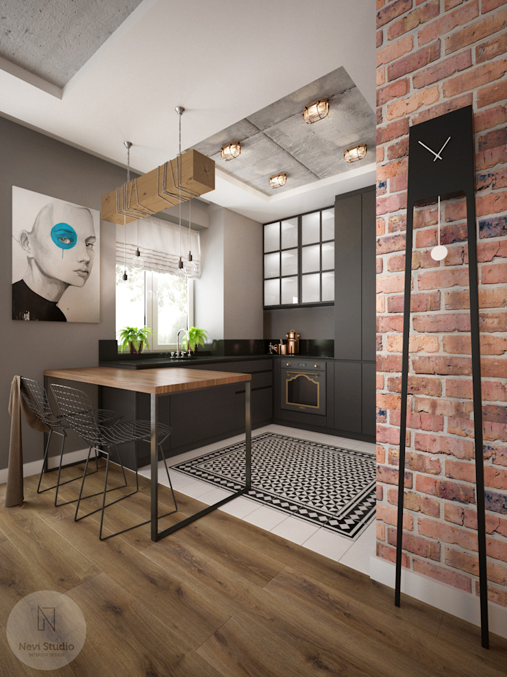 Nevi Studio Small kitchens Цегла