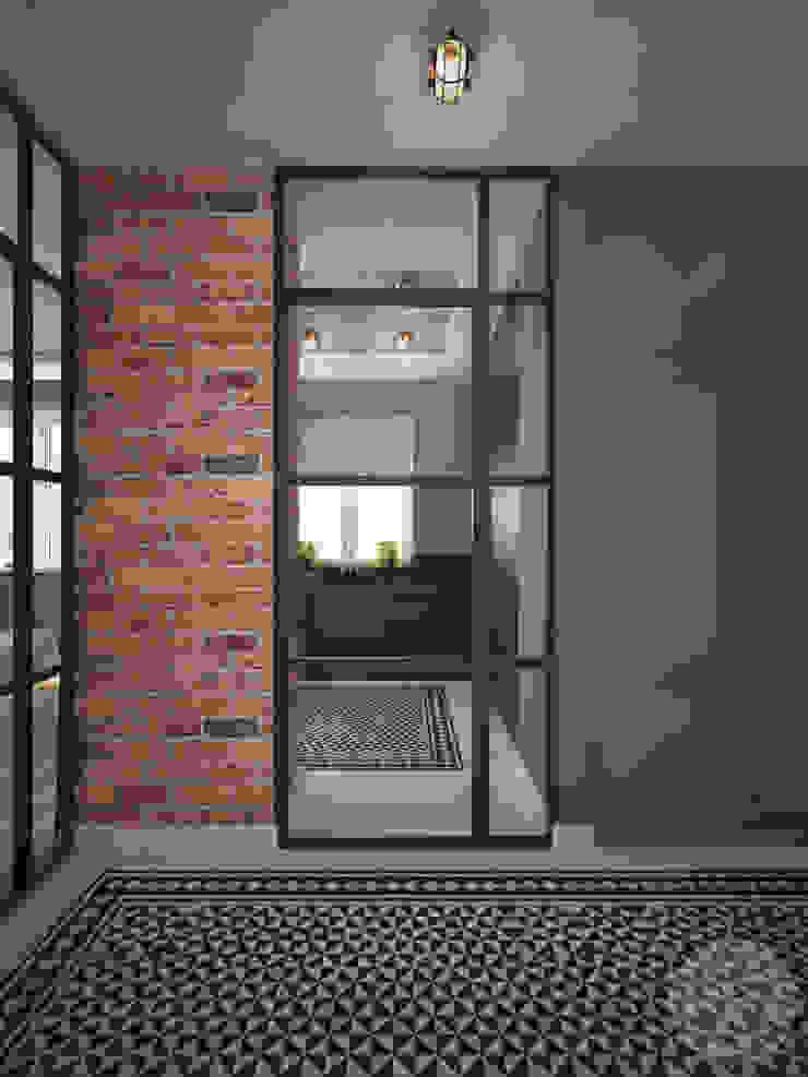 Nevi Studio Industrial style corridor, hallway and stairs Bricks