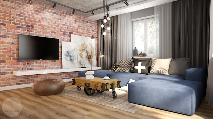 Nevi Studio Industrial style living room Bricks