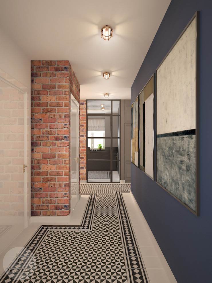 Nevi Studio industrial style corridor, hallway & stairs. Bricks Blue