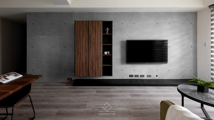 電視牆設計 極簡室內設計 Simple Design Studio 现代客厅設計點子、靈感 & 圖片 Grey