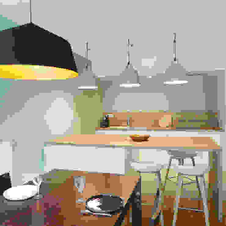 Un séjour cosy et lumineux Skéa Designer Cuisine moderne Bois Blanc