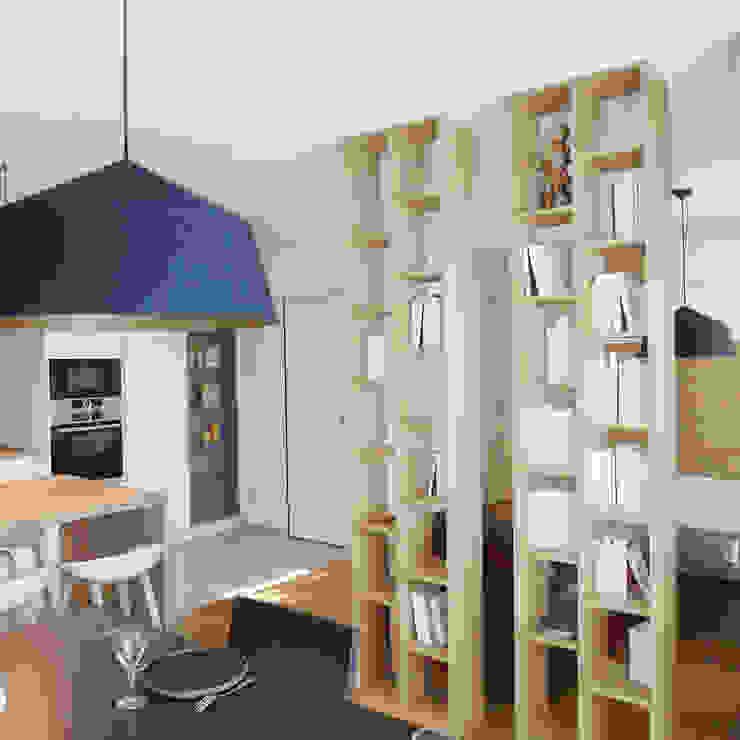 Un séjour cosy et lumineux Skéa Designer Salon moderne Bois Blanc