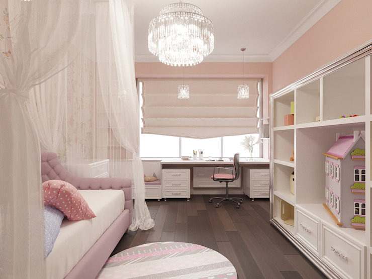 Белые ночи: Детские комнаты в . Автор – Дизайн студия 'Чехова и Компания', Классический Дерево Эффект древесины