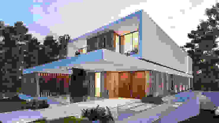CASA CC1- Moradia na Quinta do Peru - Projeto de Arquitetura Casas modernas por Traçado Regulador. Lda Moderno Madeira Acabamento em madeira