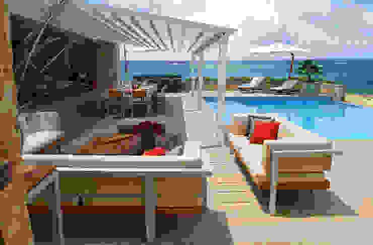 Espaços comerciais modernos por Parasoles Tropicales - Arquitectura Exterior Moderno Alumínio/Zinco