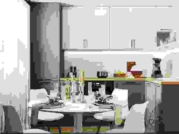 Кухня в светлых тонах Кухня в стиле минимализм от Компания архитекторов Латышевых 'Мечты сбываются' Минимализм