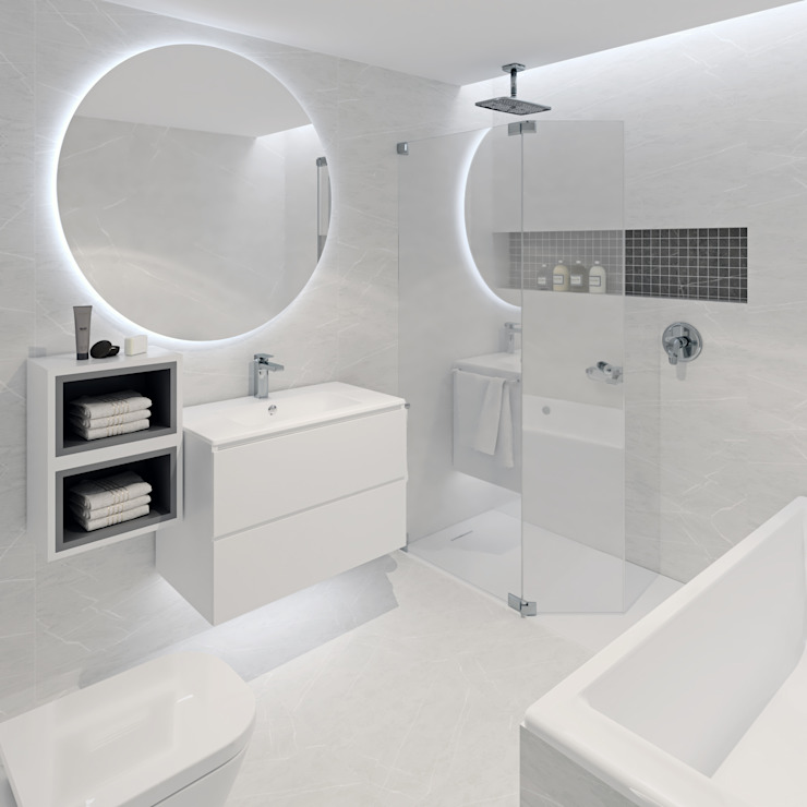 Baño principal minimalista Baños de estilo minimalista de Tono Lledó Estudio de Interiorismo en Alicante Minimalista Mármol