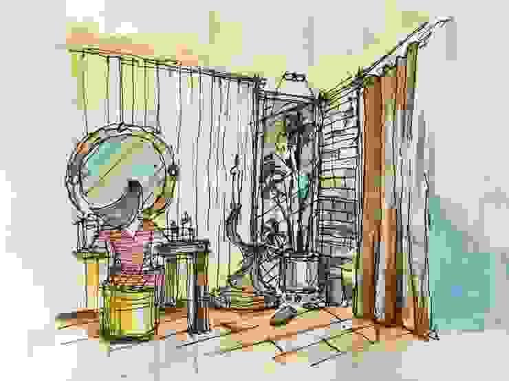 Xử lý góc chết, thêm cảnh quan cho phòng tắm: hiện đại  by Lam Hung Nguyen, Hiện đại Gỗ thiết kế Transparent