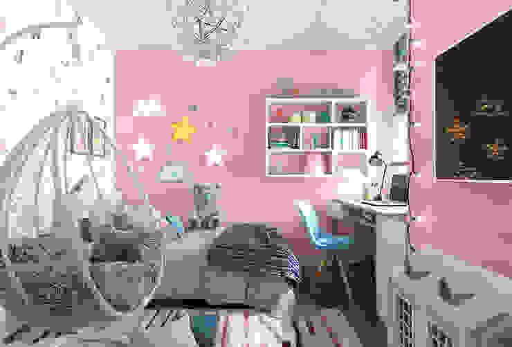 Детская для девочки, любящей рисовать.: Спальни для девочек в . Автор – Студия NATALYA SOLNTSEVA Interiors Design, Эклектичный МДФ