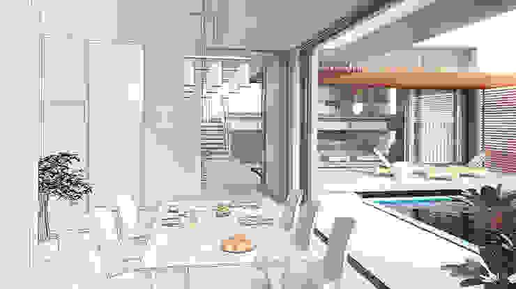 Salas de jantar modernas por Arkiline Arquitectura Optativa Moderno Madeira Efeito de madeira