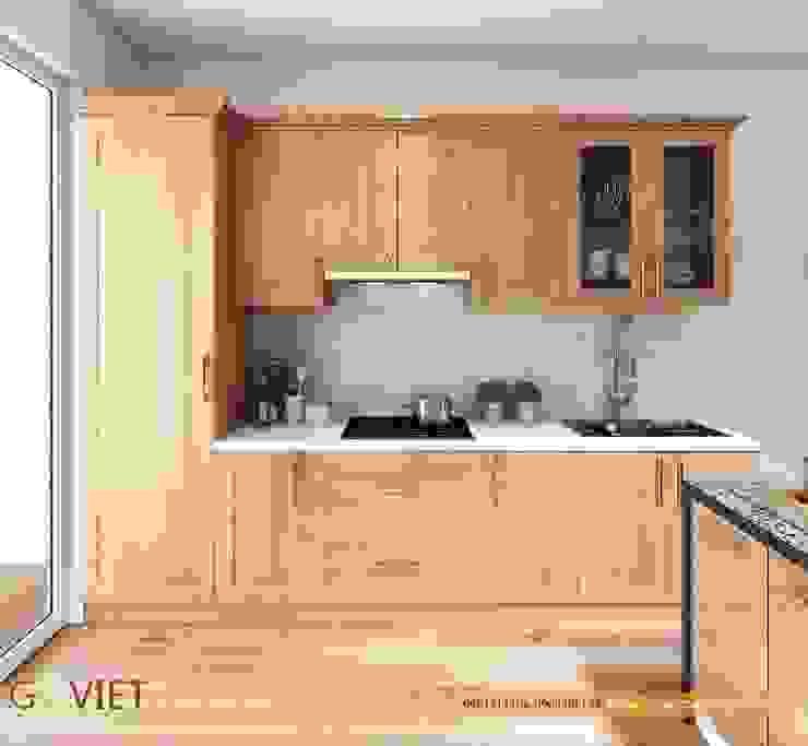 por TỦ BẾP GỖ VIỆT Moderno Madeira Efeito de madeira