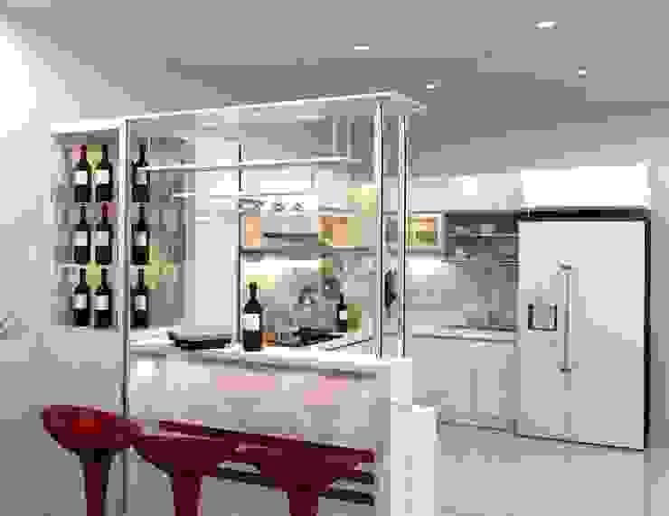 Mẫu thiết kế nhà bếp đẹp hiện đại có quầy bar bởi TỦ BẾP GỖ VIỆT Hiện đại Gỗ Wood effect