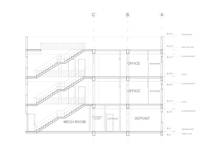 corte longitudinal Cuartos de estilo tropical de Alexander Chivico & Architects Tropical