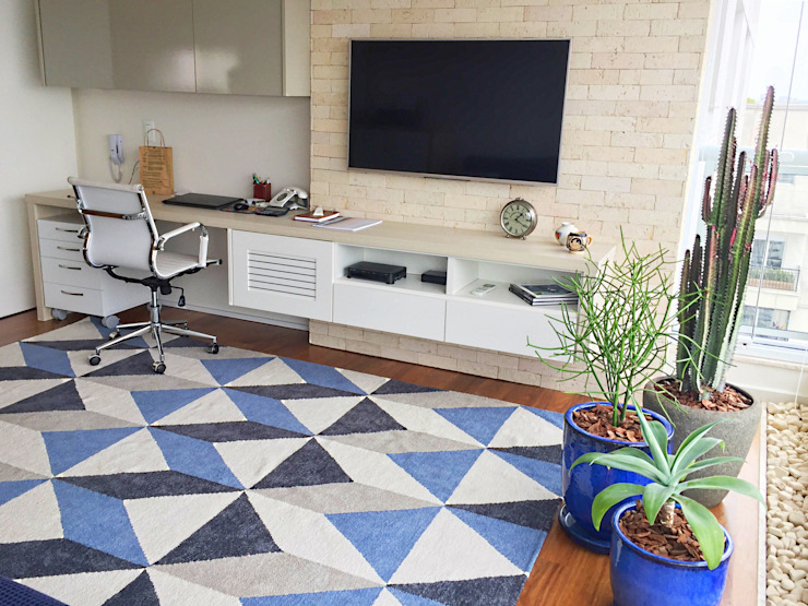 SALA ÍNTIMA, QUARTO DE HÓSPEDES E HOME-OFFICE Salas de estar modernas por Mazorra Studio Moderno