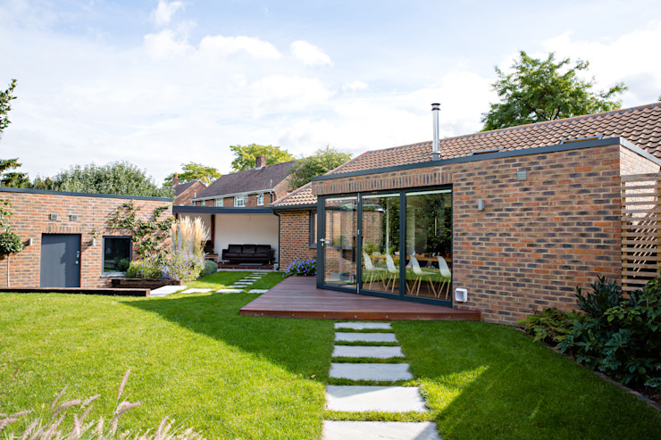 Exterior view of extension and garden dwell design Modern houses