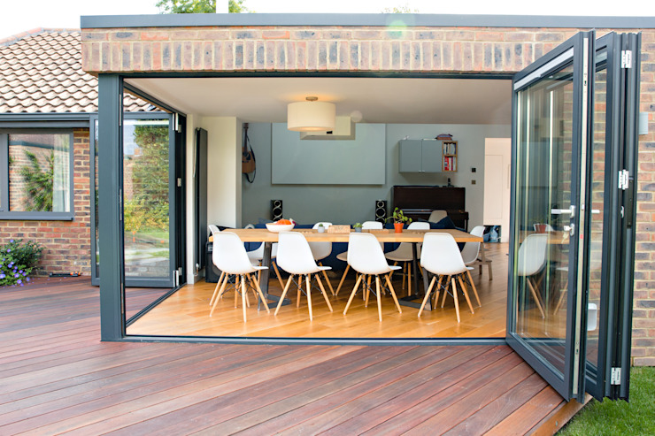 Exterior view of extension and bi-foldng doors dwell design Modern houses
