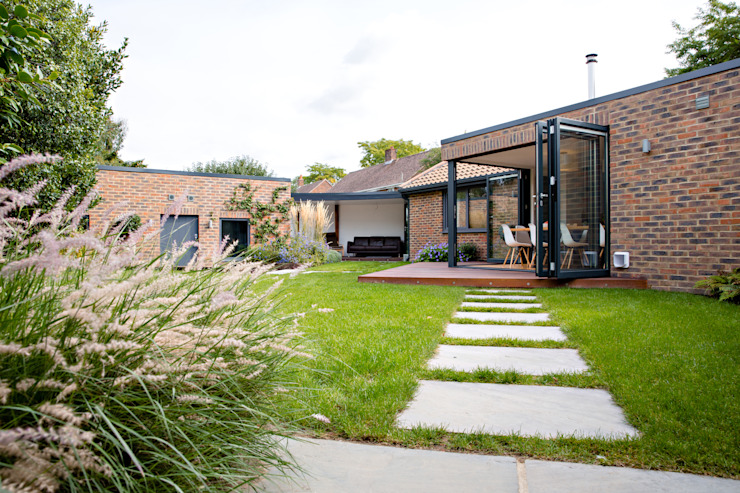 Exterior view of extension and landscaped garden dwell design Modern houses