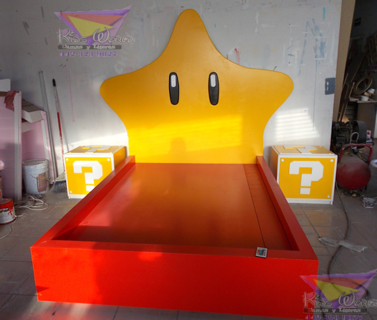 Hermosa recamara de Mario Bros de Kids Wolrd- Recamaras Literas y Muebles para niños Moderno Derivados de madera Transparente