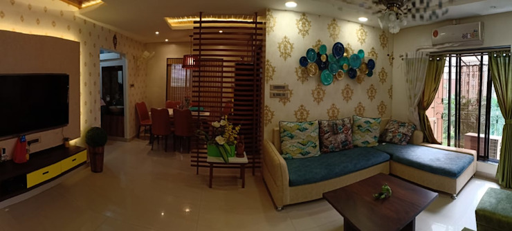 3BHK 1200 SQ.FT FLAT IN VASAI Classic style living room by HARDIK PATIL ARCHITECTS Classic