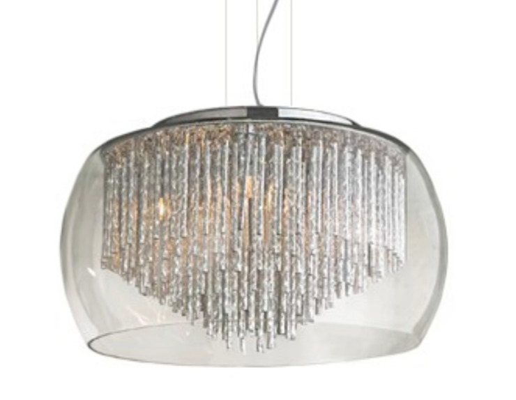 Glass lamp shade with crystals REGO - exclusive lighting for dining room 根據 Luxury Chandelier 現代風 玻璃