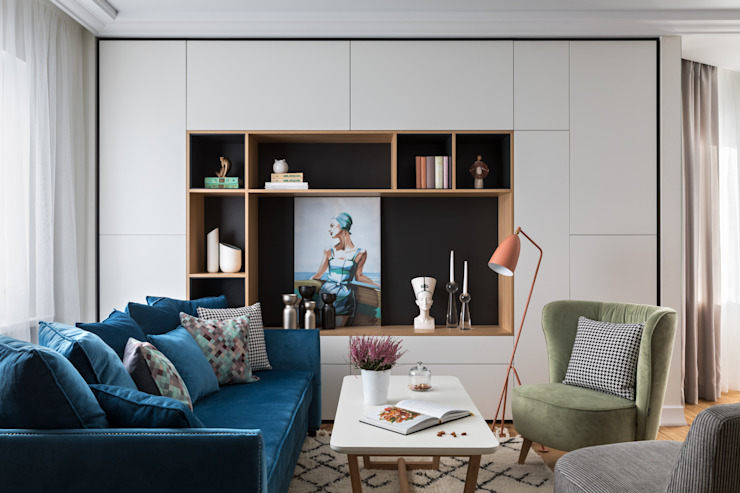 غرفة المعيشة تنفيذ Архитектор  Голубович Н.С., إسكندينافي خشب Wood effect