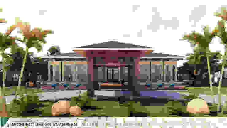 NHÀ HÀNG PHÂN TÁN QUANH NHÀ HÀNG CHÍNH – 1 TẦNG bởi Kiến trúc Việt Xanh