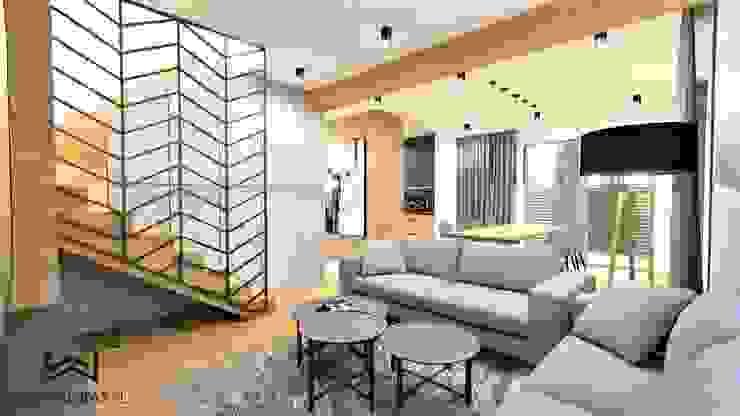 Industrial style living room by Wkwadrat Architekt Wnętrz Toruń Industrial Concrete