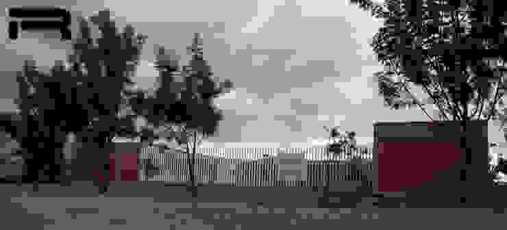 Fachada Estudios y despachos minimalistas de Rabell Arquitectos Minimalista Ladrillos
