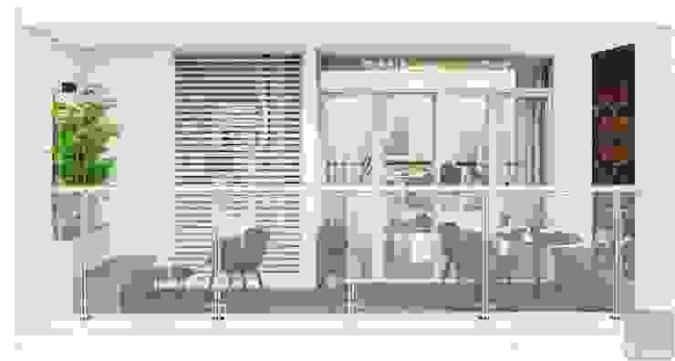Quy luật tương phản trong thiết kế nội thất căn hộ Vinhomes Central Park Hành lang, sảnh & cầu thang phong cách hiện đại bởi ICON INTERIOR Hiện đại