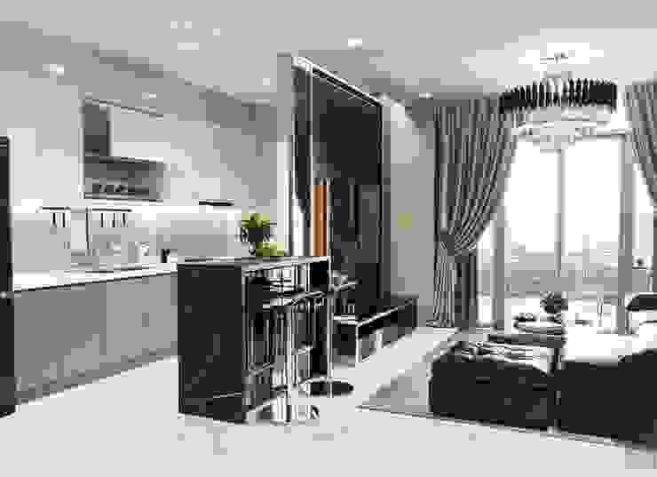 Quy luật tương phản trong thiết kế nội thất căn hộ Vinhomes Central Park Nhà bếp phong cách hiện đại bởi ICON INTERIOR Hiện đại
