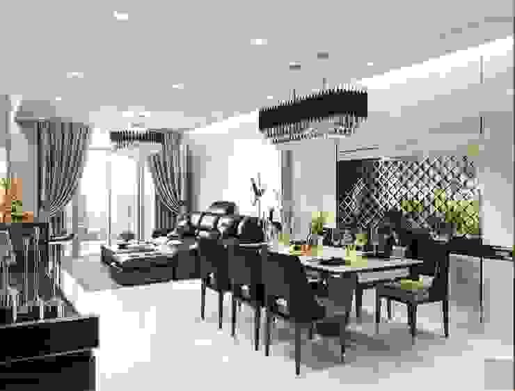Quy luật tương phản trong thiết kế nội thất căn hộ Vinhomes Central Park Phòng ăn phong cách hiện đại bởi ICON INTERIOR Hiện đại
