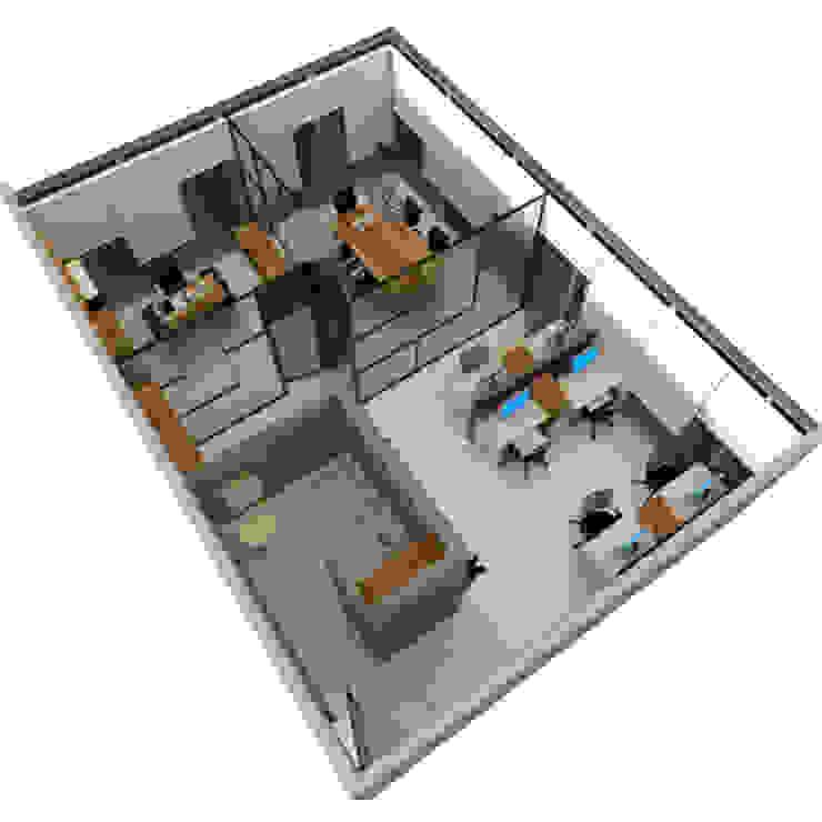 plano de oficina3d:  de estilo industrial por CYNTHIA SALVATIERRA NOA, Industrial Aglomerado