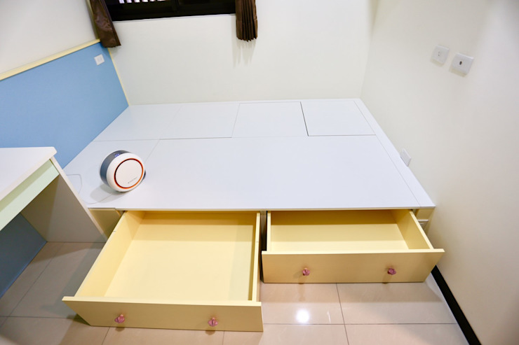 收納採用滑軌設計讓小朋友能輕鬆打開 根據 藏私系統傢俱 簡約風