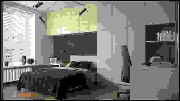 granatowa kawalerka - GACKOWSKA DESIGN GACKOWSKA DESIGN Małe sypialnie Niebieski