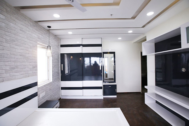 Black and White Master Bedroom Modern style bedroom by Interios by MK Design Modern