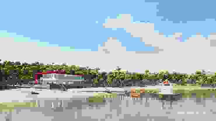 海灘太陽能藝術玻璃別墅 根據 盧博士虛擬實境設計工坊 熱帶風 玻璃