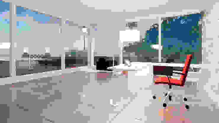 海灘太陽能藝術玻璃別墅之室內空間- 書房 根據 盧博士虛擬實境設計工坊 熱帶風 玻璃