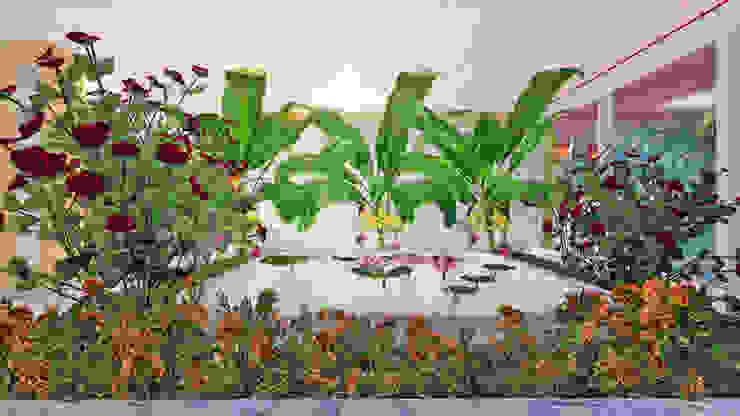 海灘太陽能藝術玻璃別墅之室內景觀 熱帶式走廊,走廊和樓梯 根據 盧博士虛擬實境設計工坊 熱帶風 花崗岩