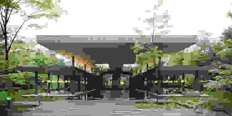 Lobby Exterior Casas modernas: Ideas, imágenes y decoración de T + T arquitectos Moderno