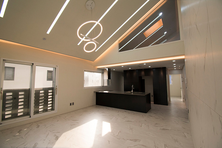 J_oblique 제이오블리크_평택시 고덕지구 FD11-4-9 상가주택 모던스타일 거실 by AAG architecten 모던 MDF