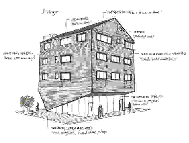 J_oblique 제이오블리크_평택시 고덕지구 FD11-4-9 상가주택 모던스타일 주택 by AAG architecten 모던 벽돌