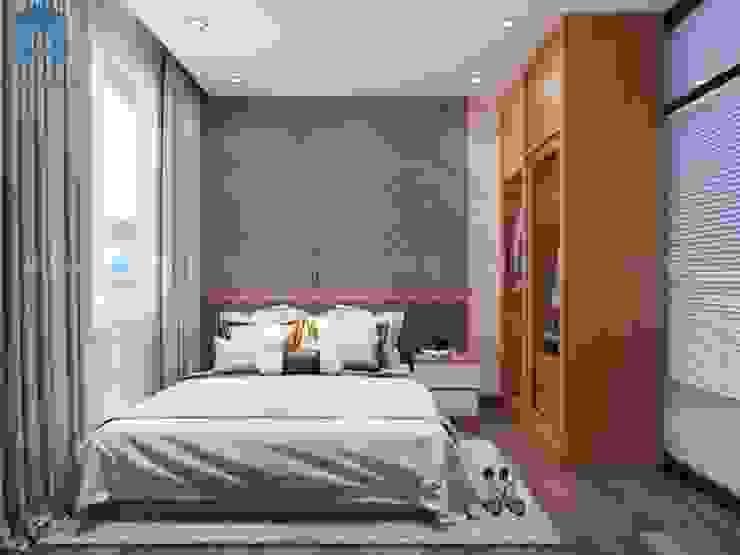THIẾT KẾ NỘI THẤT CHUNG CƯ SKY CENTER 60M2 – 2 PHÒNG NGỦ – TÂN BÌNH Phòng ngủ phong cách hiện đại bởi Công ty TNHH Nội Thất Mạnh Hệ Hiện đại Gỗ Wood effect