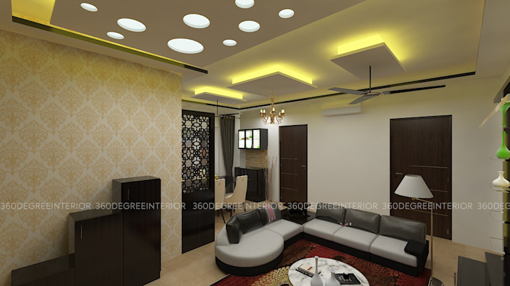 Living Room:  Living room by 360 Degree Interior,Modern Plywood