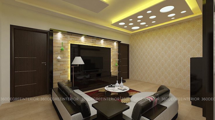 Living & dinning:  Living room by 360 Degree Interior,Modern