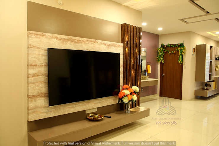 Aparna Cyberlife Modern living room by Meticular Interiors LLP Modern